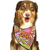 Hipiyoled Old School Music Pattern Adjustbable Collars Pet Bandana Bibs for Puppy Cats