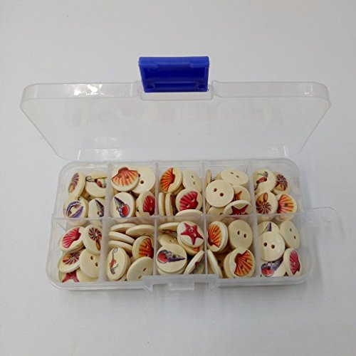 ELECTROPRIME 100x Seashell Design 2-Holes Round Wooden Buttons for Sewing 15mm in a Box