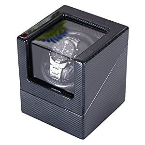 [Carbon New Style] Love Nest Single Premium Carbon Watch Winder Piano Finish Pure Handmade with High Quality Japanese Mabuchi Motor 5H (Black)