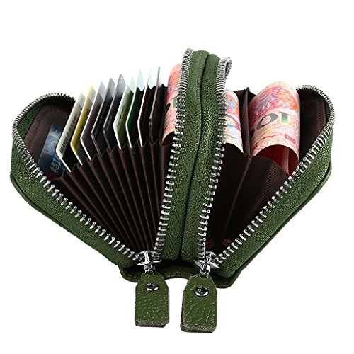 Mcvilla Echt Leder Scheckkartenetui Kreditkartenetui Visitenkartenetui Geldbeutel Minibörse RFID-Blocking (Rot) Grün