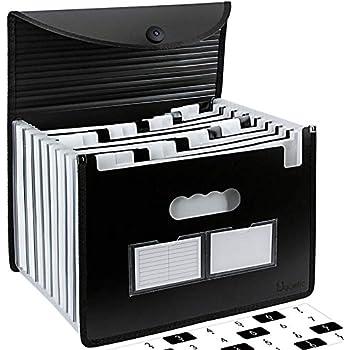 Uquelic 26 Taschen Upgrate F/ächermappe A4 Gro/ße Briefgr/ö/ße Ordnungsmappe A4 Erweiterbare Datei Organizer Self Dokument Akkordeon Dateiordner Brieftasche Aktenkoffer Business Filing Box mit Griff