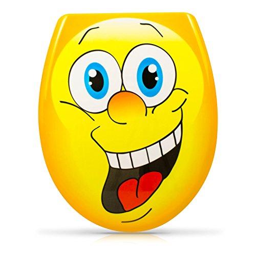 """WC Sitz mit Absenkautomatik - \""""Smiley Face\"""" Design - Duroplast Toilettendeckel mit Motiv inkl. Montagesatz - Grinscard"""