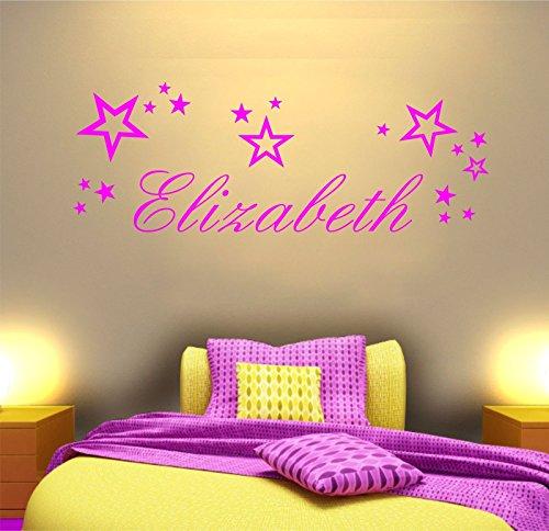 'Il Tuo Nome' personalizzato, stelle, vinile adesivo, murale, adesivi. Camera da letto, stanza giochi per bambini, cameretta. 80cm larghezza x altezza 29cm, Vinile, Pink, 80cm Wide x 29cm High