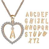 XJYA Silberne Halskette für Frauen, Europa und Amerika Einfache Mode Diamant Herz Brief Liebe Halskette, g Rose Gold