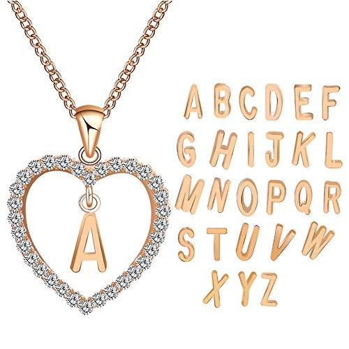 DIAOXZHUI Silberne Halskette für Frauen, Europa und Amerika Einfache Mode Diamant Herz Brief Liebe Halskette, q Rose Gold (Juwel Hals Vintage)