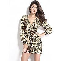 GS~LY Stampa leopardo autunno top manica lunga basso taglio crossover con scollo a v alla moda elegante vestito , leopard ,