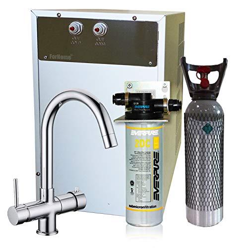 Wasserfilter System ForHome® für die küche Kühler Karbonator Wasseraufbereiter Mikrofiltrations Wasser Everpure von Spüle, gekühlte Kühlwasser Sprudelwasser mit 5-Wege Hahn + 1 CO2-Zylinder -