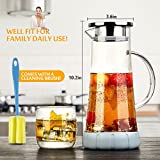 WOQO Jug, Glass Jugs for Water, Glass Pitcher Water Jug for Hot/Cold Water, Juice, Tea and Coffee 50oz 1.5L