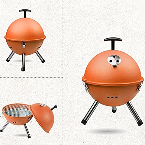 Inovey Outdoor Portable BBQ Grill Round Charcoal Oven Barbecue Picnic Stove -Orange