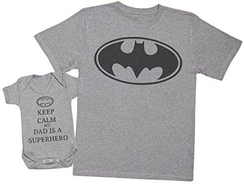 75f291d09e73 Zarlivia Clothing Keep Calm My Dad Is A Hero - Regalo para Padres y bebés  en un Cuerpo para bebés y una Camiseta de Hombre a Juego - Gris - Large & 12-18  ...
