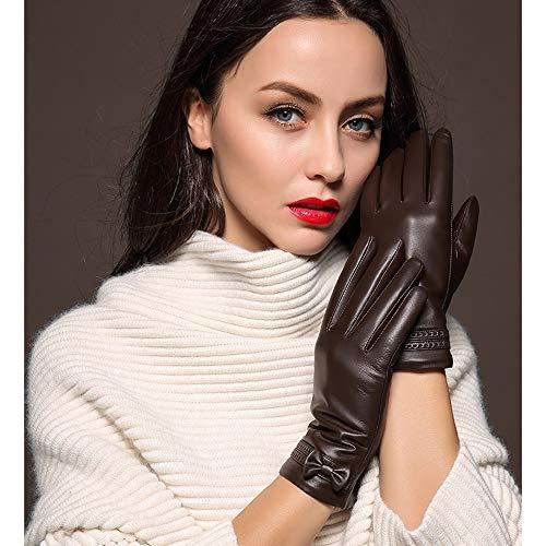 Swftc Handschuhe Touch-Screen-Handschuhe warme Handschuhe Black Winter Voll-Finger-Handschuh-Bogen Dünnschliff Fahren Anti-Rutsch-Schaffell-Handschuhe Outdoor-Driving Echtlederhandschuhe -