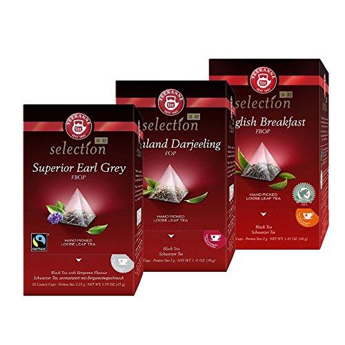 English Breakfast Tee-set (Teekanne Luxury Cup Schwarztee-Set - 3 verschiedene Teesorten im Pyramidenbeutel ( 3 x 20 Beutel))