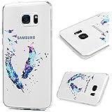 Kasos Coque Samsung Galaxy S7 Edge, Coque Housse Case Bumper Étui de Protection en TPU Silicone Gel Souple Flexible Ultra Slim Mince Antichoc Motif Plume
