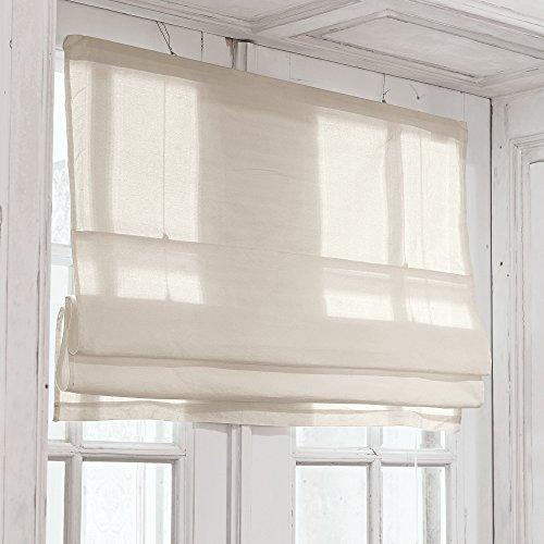 Vorhänge Leinen Rustikal (LOBERON Faltrollo Fides, 100% Baumwolle, LxB ca. 120x100 cm, leinen)