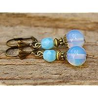 Vintage Ohrringe mit Glasperlen - Opal