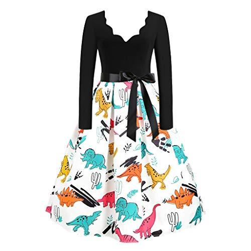 Kolila Kleid 1950er Womens Vintage V-Ausschnitt Langarm gedruckt Patchwork Rock Lässige Abend Party Prom Kleider