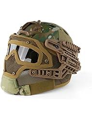 PJ tipo rápido Molle Airsoft y Paintball Tactical protectora rápido casco ABS táctico máscara con gafas para Airsoft Paintball juego CS, CP