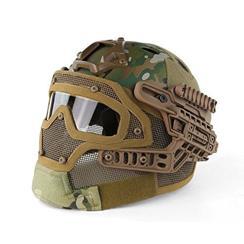 PJ Typ Schnell Molle Airsoft und Paintball Taktische Schutz Schnelle Helm ABS Taktische Maske mit Goggle für Airsoft Paintball WarGame CS