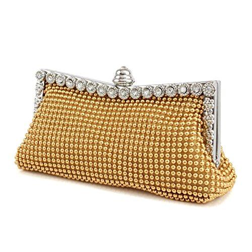 Sig.ra Gioielli Alluminio Pacchetto Sposa Vestito Da Banchetto Del Strass Catena Pochette Gold