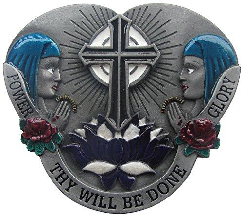 Dragon Gürtelschnalle Thy Will BE Done Kreuz Cross Maria Buckle USA -