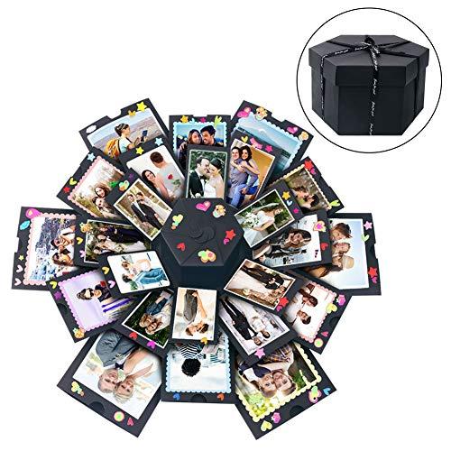 Aparty4u Hexagonal Explosion Box Kreative Geschenk-Box Scrapbook DIY Fotoalbum Zubehör Kit für Jahrestag Verlobung Hochzeit Geschenk für Hochzeit Vorschlag Verlobung Geburtstag Valentinstag -