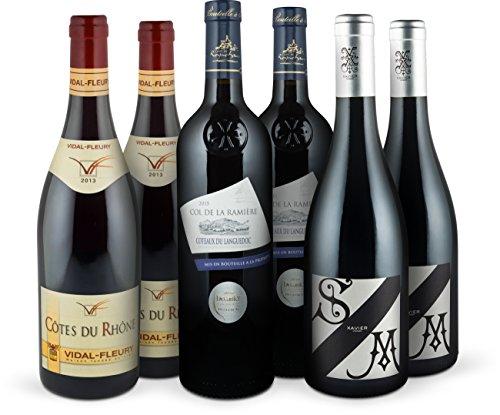 Rotwein-Probierpaket 'Highlights aus Frankreich' | 6 Flaschen prämierter Rotwein (trocken) | 3 Spitzen Cuvées aus Syrah & Co | Ideal als Geschenk-Paket oder für den persönlichen Premium-Wein-Genuss
