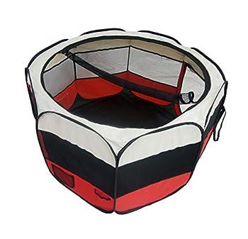 Todeco - Parc à Chiot, Enclos pour Petits Animaux - Matériau: Polyester couvert de PVC - Diamètre: 125 cm - Rouge