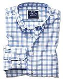 Bügelfreies Slim Fit Twill-Hemd mit Button-down Kragen in Weiß und Blau Knopfmanschette