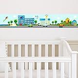 malango® Kinderbordüre Kleine Stadt 3-teilig Autos Fahrzeuge Häuser Kinderzimmer Bordüre Kind Kinderwelt Wanddekoration ca. 450 x 13 cm digitalgedruckt