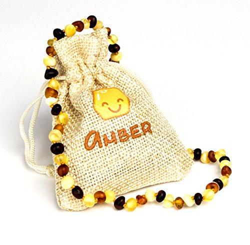 Collar de ámbar báltico, tamaño 31 - 33 cm, 100% natural y hecho a mano con cuentas de ámbar Multicolor mate.