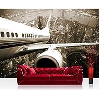 Fotomural, 300x 210cm Premium Plus fotográfico pintado–cuadro de pared–Skyline Flight–Skyline Avión vacaciones marrón Sephia–No. 048