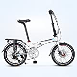 YEARLY Erwachsene klappräder, Klappräder Ultraleichte Portable 7-gang Shimano Aluminium-legierung Stadt fahren Faltrad-Weiß 20inch