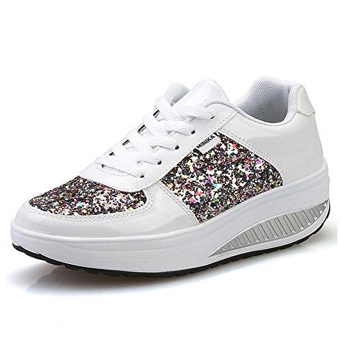 QZBAOSHU Damen abnehmen Walkingschuhe & Turnschuhe Fitness Keile Plattform Schuhe Sneakers (40 EU, 3-Weiß)