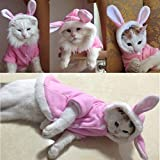 #9: Petsdelite Easter Bunny Costume Warm Jacket for Cats (Pink)