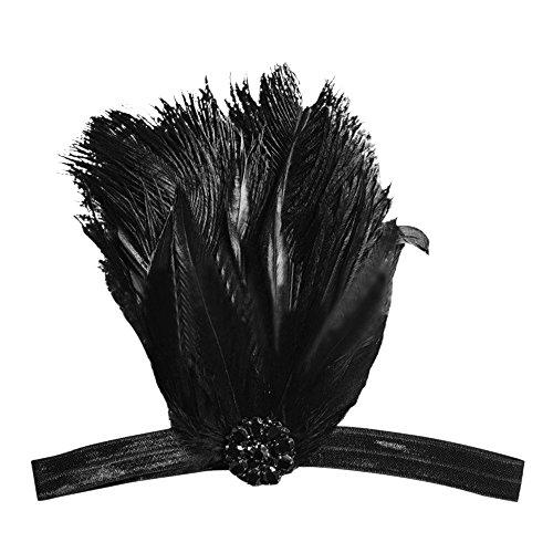 �ischen 1920er Jahre Stil Strass Schwarz Feder Cosplay Hochzeit Party Kostüm Stirnband Haarband Stirnband Haarschmuck (Europäische Kostüme Für Frauen)