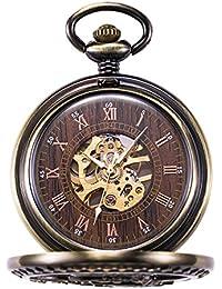 MORFONG Reloj de bolsillo para hombre y mujer, con cadena de bronce antiguo, mecánico, cuerda manual, esqueleto y números romanos.