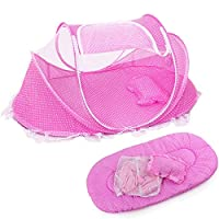Baby Mosquito Net Portable Folding Baby Travel Bed Crib with Mattress Pillow Bag Pink
