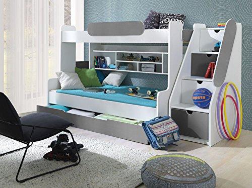 Furnistad Etagenbett Luna | Kinder Stockbett mit Treppe und Bettkasten (Weiß + Grau)