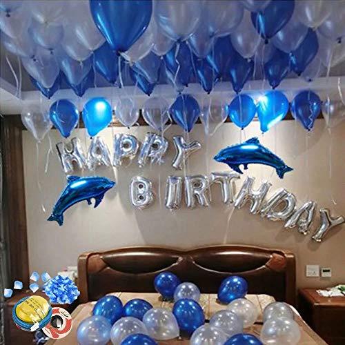Geburtstag,100 Stück Luftballons, 2 Stück Blue Dolphin Foil Bollons, 1 Satz Silberfolien-Buchstaben-Luftballons, für Mem Women Boys Girls Birthday Party, für romantische Feiern ()
