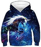 Ocean Plus Jungen Hoodie Tierdruck Kapuzenpulli mit Aufdruck Kapuzenpullover Kinder Sweatshirt Hooded Sweat (XS (Körpergröße: 105-115cm), Blau Galaxie Einhorn)