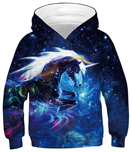 Ocean Plus Niños Sudaderas con Capucha Cool Pullover para Niños Niñas Adolescente Camiseta de Manga Larga (L (Altura: 145-155cm), Galaxia Azul Unicornio)