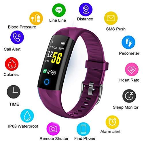 LIGE Fitness Armband mit Pulsuhr,Wasserdicht Fitness Tracker Schrittzähler Fitness Uhr,Bluetooth Pulsmesser Aktivitätstracker Farbbildschirm Uhr Damen Herren Smartwatch Touchscreen Lila Armbanduhr (Damen Uhren Lila)