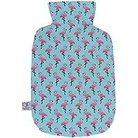 Wärmflaschenbezug Flamingos türkis für 2 l Wärmflasche