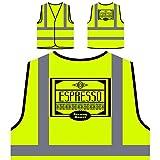 Espresso Starker Braten Personalisierte High Visibility Gelbe Sicherheitsjacke Weste r110v
