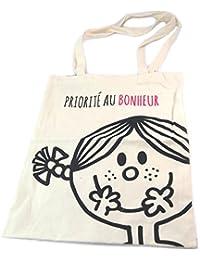 "Monsieur Madame [P1799] - Sac coton / Tote bag ""Monsieur Madame"" beige (Priorité au Bonheur) - 41x35. 5 cm"