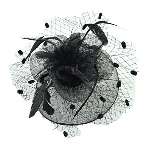 HETAO Mädchen Headwear, Frauen Hochzeit Haarspange Kopfschmuck Vintage Bogen Feder Net und Schleier Hut Blume Bowler Caps Stirnband