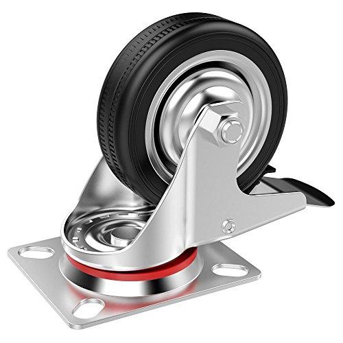 51Uzl6TORYL - Popamazing - Ruedas giratorias de goma, 4 unidades, resistentes, 200 kg, 75 mm, color negro