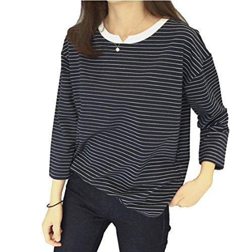 Brinny T-shirt rayée vêtement lâche à manches longues blouse pour les femme fille Noir