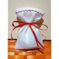 Crociedelizie, Stock 25 sacchetti bomboniere portaconfetti segnaposto in tela aida da ricamare a punto croce