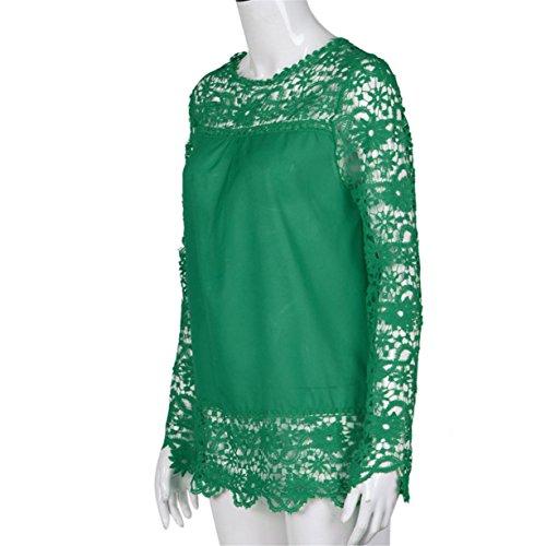 CYBERRY.M T-shirt Été Casual Femme Manches Longues Fleur Dentelle Lâche Tee Blouse Top Vert